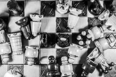 Edición blanco y negro del ajedrez Imagen de archivo