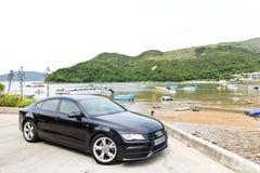 Edición 2014 del negro de Audi A7 Sportback Imagenes de archivo