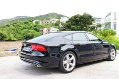 Edición 2014 del negro de Audi A7 Sportback Imágenes de archivo libres de regalías