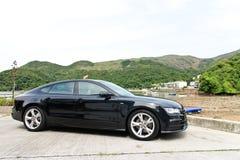 Edición 2014 del negro de Audi A7 Sportback Foto de archivo libre de regalías