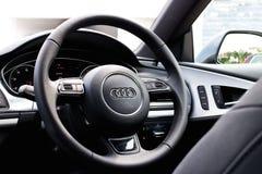Edición 2014 del negro de Audi A7 Sportback Fotografía de archivo libre de regalías