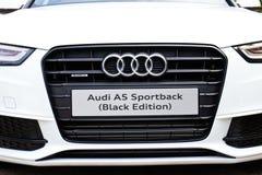 Edición 2014 del negro de Audi A5 Sportback Imágenes de archivo libres de regalías