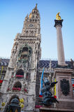 Edieval Town Hall, munich city hall at the marienplatz,New Town Hall. Stock Photos