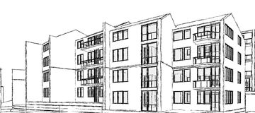 Edifício de apartamento ilustração royalty free