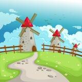 Edifício do moinho de vento da paisagem ilustração royalty free