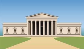 Edifício do museu com vetor das colunas Fotos de Stock Royalty Free