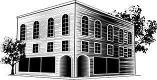 Edifício do Woodcut Fotos de Stock