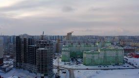 Edifício elevado da ascensão que vai acima Estrutura concreta Construção monolítica do quadro filme