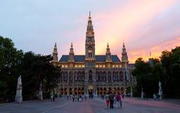 Edifício gótico alto do salão de cidade de Viena, Áustria Foto de Stock Royalty Free