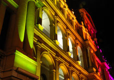 Edifício iluminado do Tesouraria fotografia de stock