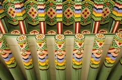 Edifício pintado de madeira seoul Coreia do Sul do palácio foto de stock royalty free