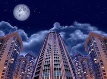 Edifícios da noite no céu e na lua, colagem Fotos de Stock Royalty Free