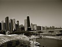 Edifícios de Chicago preto e branco Fotos de Stock