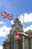 Edifícios do fígado, cabeça do cais de Liverpool Imagem de Stock Royalty Free