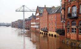 Edifícios inundados Imagens de Stock
