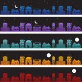 Edifícios no jogo do fundo do Nighttime ilustração royalty free