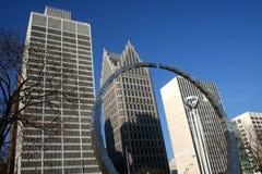 Edifícios no owntown de Detroit Foto de Stock