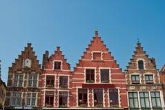 Edifícios no quadrado central - Bruges Imagens de Stock