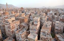 Edifícios velhos de Sanaa fotos de stock royalty free