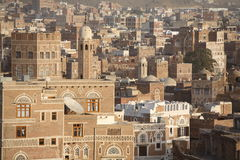 Edifícios velhos de Sanaa fotografia de stock royalty free