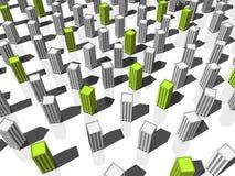 Edifícios verdes e cinzentos Fotos de Stock Royalty Free