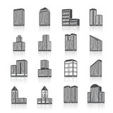 Edifice buildings icons set. Business center city edifice buildings black silhouettes on white pictograms icons set isolated vector illustration Stock Photos