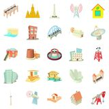 Edifice icons set, cartoon style Royalty Free Stock Images