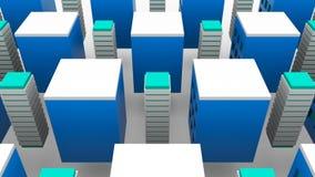 Edifici alti crescenti differenti in città moderna, fondo della rappresentazione 3d, generazione del computer Immagine Stock