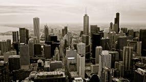 Edifici del Chicago in bianco e nero Fotografie Stock Libere da Diritti