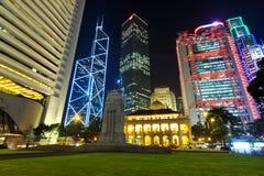 Edifici di Hong Kong alla notte Fotografia Stock Libera da Diritti