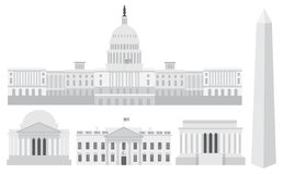 Edifici e memoriali di Campidoglio del Washington DC Fotografia Stock Libera da Diritti