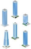 Edifici per uffici alti isometrici della città Fotografia Stock