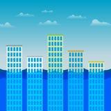 Edifici per uffici che sopravvivono all'inondazione Fotografia Stock Libera da Diritti