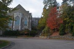 Edificio, árboles verdes, luz y camino en Duke University fotos de archivo libres de regalías