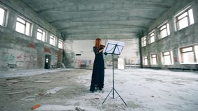 Edificio abandonado con una señora que toca el violín almacen de metraje de vídeo