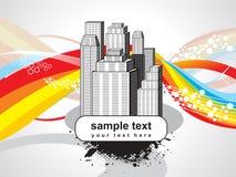 Edificio abstracto con la onda del arco iris Imágenes de archivo libres de regalías