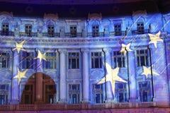 Edificio adornado para la Navidad Imagenes de archivo
