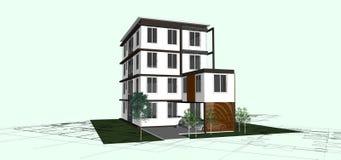 Edificio aislado en blanco Concepto 6 de las propiedades inmobiliarias 3d Imagen de archivo libre de regalías