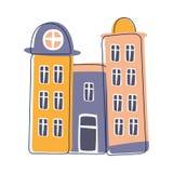 Edificio alto del condominio en el color azul y rosado, ejemplo resumido elemento lindo de la historieta del paisaje de la ciudad libre illustration