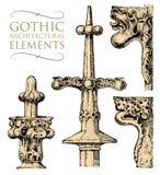 Edificio antiguo decorativo del detalle elementos, piedra caliza o órdenes ornamental clásica arquitectónica mano grabada stock de ilustración