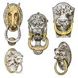 Edificio antiguo del detalle elementos ornamentales arquitectónicos, botón de puerta de madera, golpeador o manijas león y caball ilustración del vector