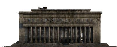 Edificio arruinado aislado en el ejemplo blanco 3D libre illustration