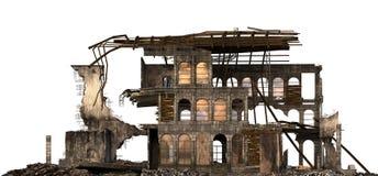 Edificio arruinado aislado en el ejemplo blanco 3D ilustración del vector
