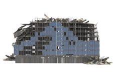 Edificio arruinado aislado en el ejemplo blanco del fondo 3D imágenes de archivo libres de regalías