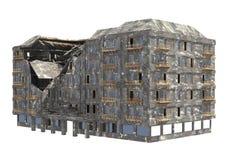 Edificio arruinado aislado en el ejemplo blanco del fondo 3D foto de archivo