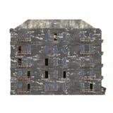 Edificio arruinado aislado en el ejemplo blanco del fondo 3D fotos de archivo libres de regalías