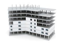 Edificio bajo construcción en el fondo blanco 3d rinden los cilindros de image stock de ilustración
