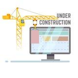 Edificio bajo fondo del vector del sitio web de la construcción Imágenes de archivo libres de regalías