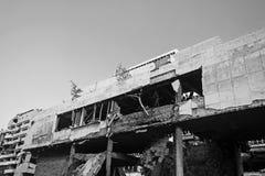 Edificio bombardeado en el capital de Serbia fotografía de archivo libre de regalías