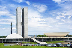 Edificio brasileño del congreso nacional en Brasilia, el Brasil fotografía de archivo libre de regalías